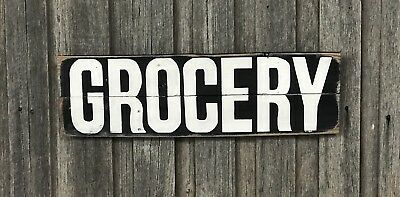 GROCERY H20cm x L60cm - Rustic Vintage Style Recycled Timber Sign