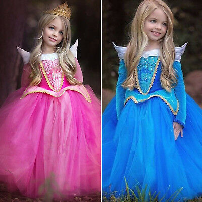 Kids Girls Princess Costume Fancy Dress Disney Sleeping Beauty Aurora Cosplay AU