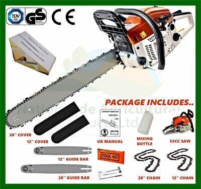 "20"" & 12"" Petrol Chainsaw With 2 x Bars, 2 x Chains, Bar Covers & Tool Kit New"