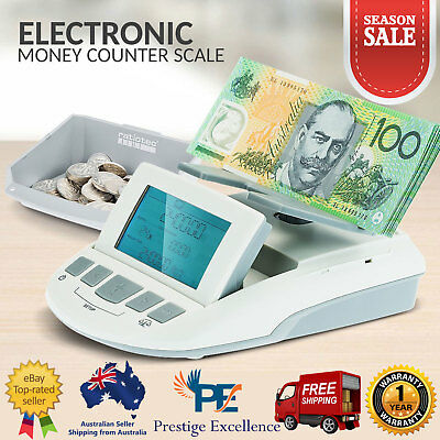 New Portable Electronic Money Counter Scale Coin Sorter Weighing Function White