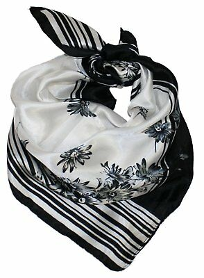 Ted and Jack - Summertime Silk Feel Neckerchief Scarf in Black Stripes