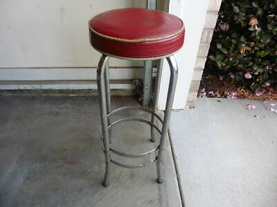 1930s Ice Cream Shop Soda Fountain Bar Deco Counter Stool w Leather Seat Origina