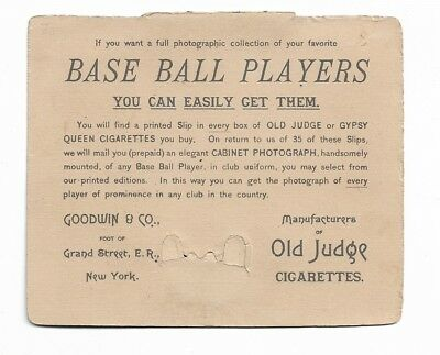 Vint 1888 Trade Card Goodwin & Co N173 OLD JUDGE Cabinet Card Baseball Photos