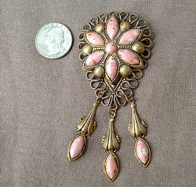 "Vtg Large Brass Brooch With Peach Colored Art Glass And Three Dangles 4"" Tall!"
