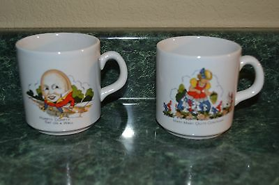 RARE Made In England HUMPTY DUMPTY and MARY MARY QUITE CONTRARY Cups Mugs - NICE