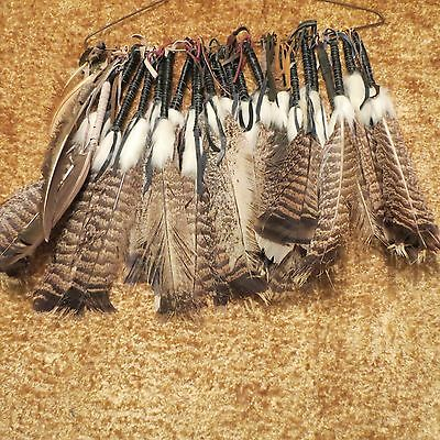 "Native American Inspired Leather Wrapped Fur Adorned Feather Medium (8"" - 12"")"