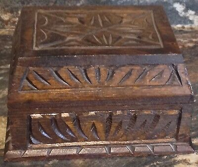 Vintage Dark Wood Hand Carved Box Hinged Lid Velvet Lined