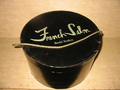 vintage hat box french salon mandel brothers black light green rope handle 7x12""