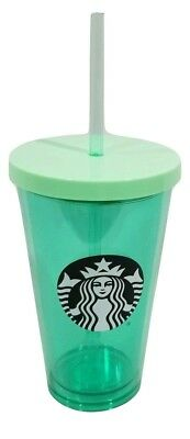 Starbucks Green Logo Cold Cup Lid and Straw 16 oz Tumbler NEW