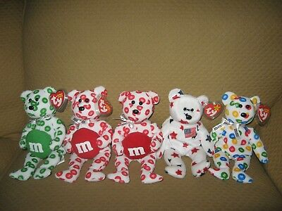TY Beanie Babies-M&M'S, RED, GREEN the M&M'S BEARS (Set Of 3-Walgreens) Extra