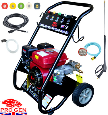 Nero Pro Petrol Power Pressure Jet Washer 2500PSI 4 Stoke Engine Gun Hose Wheels