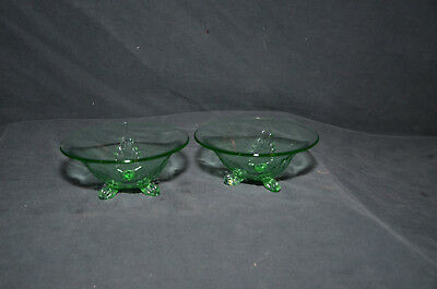 Vintage Lot of Two Green Depression Glass Foot Sundae Dishes