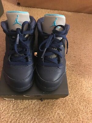Toddler's 9c Jordan 5 Retro Midnight Navy/Turquoise Blue and White Shoes