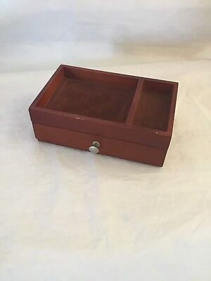 Vintage Mens Wood Dresser Valet Jewelry Box With One Drawer Wooden Velveteen
