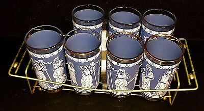Vintage Blue Greek Roman Drinking Glass Flat Tumblers -7 With Caddy Jeanette?