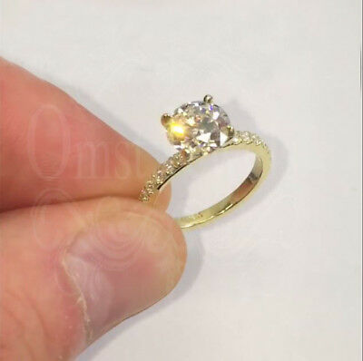 2.2Ct Round Gorgeous Moissanite Halo Engagement Ring 14K Real Yellow Gold Finish