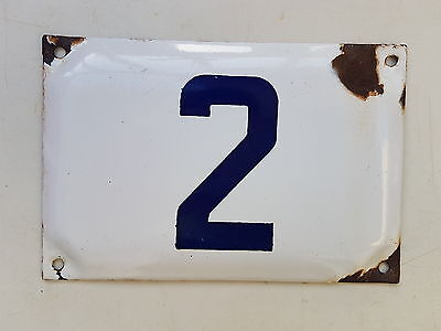 vintage ISRAELI enamel porcelain number 2 house sign # 2