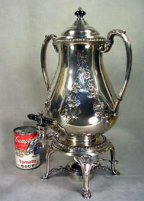 40s Baroque Silver Plate Coffee Pot Samovar Tea Kettle Hand Chased Unused? MINTY