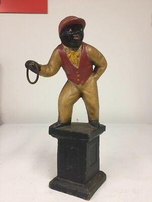 "Estate Vintage Black Lawn Jockey 11 1/2"" Cast Iron Door Stop Lantern Holder"