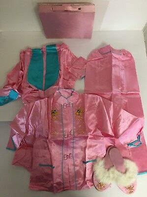 Vintage Pink Girls 4 Piece Oriental Chinese Outfit Robe Pants Top Slippers L