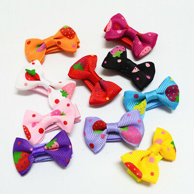 2 pcs Small Mini Bow Hairgrips Girls Whole Wrapped Various Colours