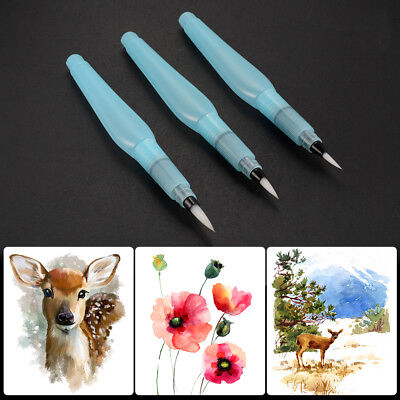 3x Water Brush Aquarell Pinsel Points Pen + Dropper für Watercolor Paint AC1137