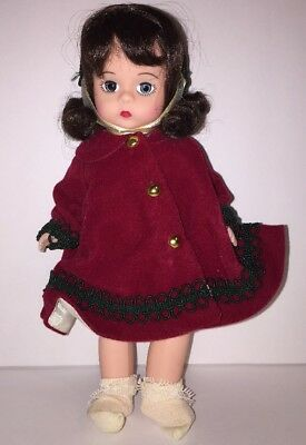 "Madame Alexander 8"" Christmas at Grandmas Doll w Red Coat & Hat Christmas Dress"