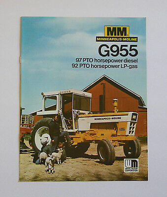 1960's-1970's Minneapolis Moline G955 Tractor Brochure LP Gas Diesel