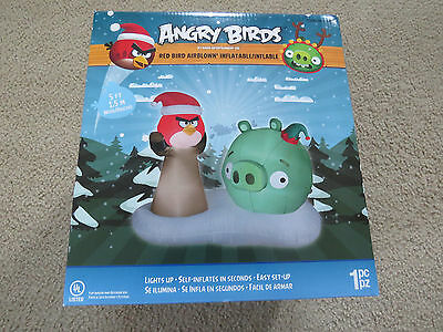 New Christmas Angry Birds Airblown Inflatable 5 ft Tall Lighted By Gemmy