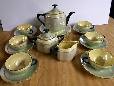 Antique J Rieber Bavaria Lustre Tea Dessert Set Teapot Cream Sugar Cups Plate