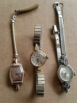 Antique working windup watches (Choice of 3), some gold & gems