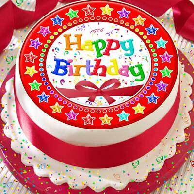 Happy Birthday Red Bow Stars 7.5 Inch Precut Edible Cake Topper Decoration