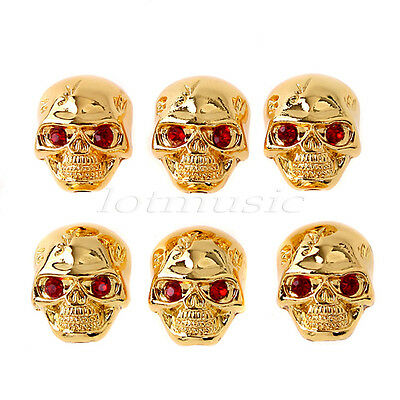 6 Pcs Metal Skull Volume Knob Gold skull head Knobs for  Electric Guitar