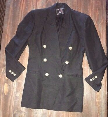 The Limited Collection Vtg Women's long Blazer Jacket Size XS black linen