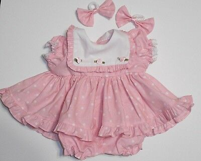 "Cabbage Patch Doll Clothes: Fit 16""doll:pink/wht Dot/ruffles Dress Set- 4Pc"