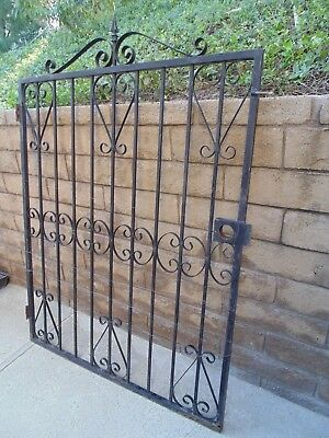 Vintage Architectural Wrought Iron Gate Scrolls English Garden Spanish 4 ft wide