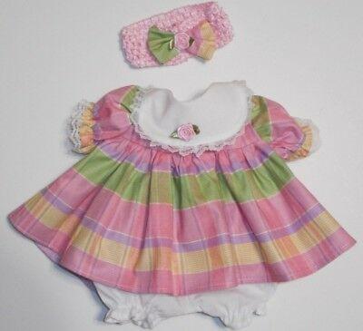 "Cabbage Patch Doll Clothes: Fit 16""doll:pink/lave/yell/grn Plaid Dress Set- 3Pc"