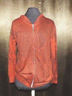 New Light Weight Maternity Zip Up Hoodie paisley print Espresso sm red black