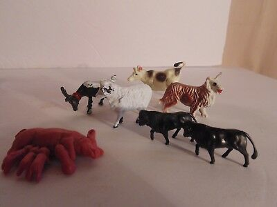 "Miscellaneous Lot of 8 Tiny Farm Animals Cow Dog Goat Sheep Bulls 1"" to 1 1/2"""