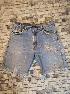 Vintage DESTROYED Distressed Levi 550 Cutoff Blue Jean Shorts Size 30 Waist