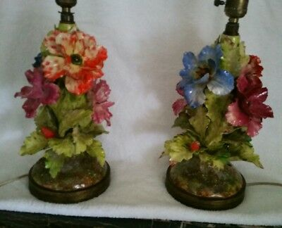 Barbitone French Majolica Pair Lamps Art Nouveau Excellent Condition