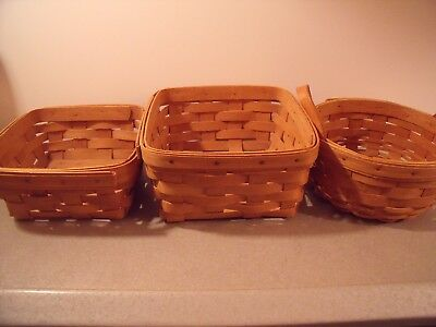 Longaberger set 3 all from 1993 square & round