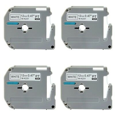 "**4 PACK** Brother M231  P-touch Label Tape 1/2"" Black on White Ptouch Label"