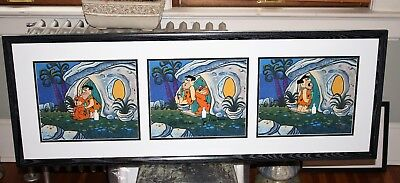 "Hannah Barbera The Flintstones ""Out for the Night"" RARE 3 cel set up, Framed"