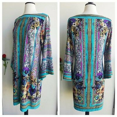 Beige by ECI multi color floral geometric blue and purple boho flare sleeve...