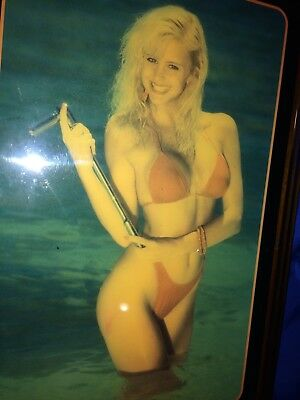 NOS 1980' Snap-On Wall Clock Varnished Wooden Pin Up Sexy Girl Photo Never Hung5