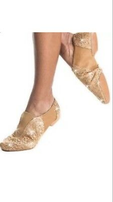 Gia Mia Sequin Nude & Gold Jazz Dance Shoes GS5 Size 4 In GUC - SHIPS FREE IN US