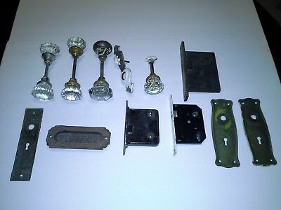 Large Lot of Vintage Antique Door Knobs, Locks and Hardware