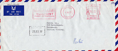 Nigeria, metered Airmail Cover Onitsha to Bayer AG. Germany Freistempel, Dez. 77