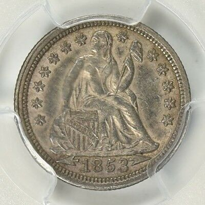 1853 Seated Liberty Dime Arrows 10C PCGS AU-55 Cert # 29181047